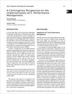 مقاله ترجمه شده با عنوان دیدگاه اقتضایی در مورد پیاده سازی مدیریت عملکرد الکترونیک، به همراه اصل